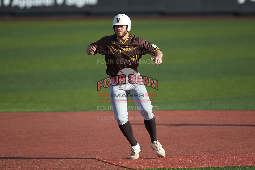 Kyle Schmack (27) of the Valparaiso Crusaders takes his lead off of second base against the Western Kentucky Hilltoppers at Nick Denes Field on March 19, 2021 in Bowling Green, Kentucky. (Brian Westerholt/Four Seam Images)