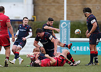 Ben Mosses of London Scottish kicks forward during the Greene King IPA Championship match between London Scottish Football Club and Jersey at Richmond Athletic Ground, Richmond, United Kingdom on 16 December 2017. Photo by Mark Kerton / PRiME Media Images.
