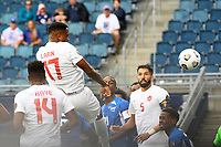 KANSASCITY, KS - JULY 11: Cyle Larin #17 of Canada scores a goal wth a header during a game between Canada and Martinique at Children's Mercy Park on July 11, 2021 in KansasCity, Kansas.