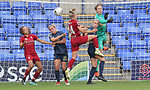 Kirsty Linnett of Liverpool Ladies heads for a shot on goal