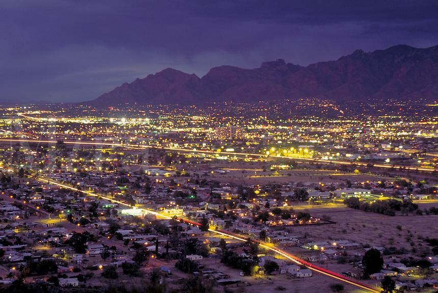 Nighttime view from Sentinel Peak Park of Tucson, AZ. Tucson Arizona USA.