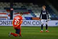 23rd February 2021; Kenilworth Road, Luton, Bedfordshire, England; English Football League Championship Football, Luton Town versus Millwall; Millwall players refuse to take a knee before kick off