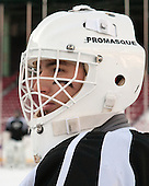 Nicholas Luise (PC - 1) -  - The participating teams in Hockey East's first doubleheader during Frozen Fenway practiced on January 3, 2014 at Fenway Park in Boston, Massachusetts.