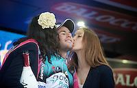 2013 Giro d'Italia.stage 12.Longarone - Treviso: 134km..podium kisses for stage winner: Mark Cavendish (GBR)