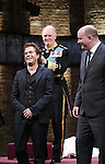 Director Rupert Goold, Tim Pigott-Smith and Playwright Mike Bartlett during the Broadway Opening Night performance curtain call bows for 'King Charles III' at the Music Box Theatre on November 1, 2015 in New York City.