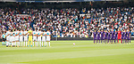 Real Madrid's players Fiorentina's players keep silence minute to victims of terrorist attack on Barcelona during XXXVIII Santiago Bernabeu Trophy at Santiago Bernabeu Stadium in Madrid, Spain August 23, 2017. (ALTERPHOTOS/Borja B.Hojas)