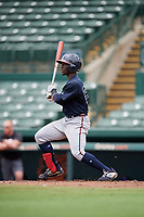 GCL Braves Michael Harris (26) at bat during a Gulf Coast League game against the GCL Orioles on August 5, 2019 at Ed Smith Stadium in Sarasota, Florida.  GCL Orioles defeated the GCL Braves 4-3 in the first game of a doubleheader.  (Mike Janes/Four Seam Images)