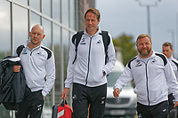 (L-R) Adrian Tucker, goalkeeping coach, Dr. Jez McCluskey, Club Doctor and Billy Reid, assistant manager for Swansea arrive prior to the Sky Bet Championship match between Rotherham United and Swansea City at the AESSEAL New York Stadium, Rotherham, England, UK. Saturday 03 November 2018