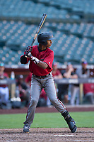 Arizona Diamondbacks shortstop Liover Peguero (9) at bat during an Instructional League game against the Kansas City Royals at Chase Field on October 14, 2017 in Phoenix, Arizona. (Zachary Lucy/Four Seam Images)