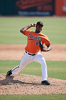 Baltimore Orioles pitcher Leonardo Rodriguez (89) delivers a pitch during an Instructional League game against the Pittsburgh Pirates on September 27, 2017 at Ed Smith Stadium in Sarasota, Florida.  (Mike Janes/Four Seam Images)