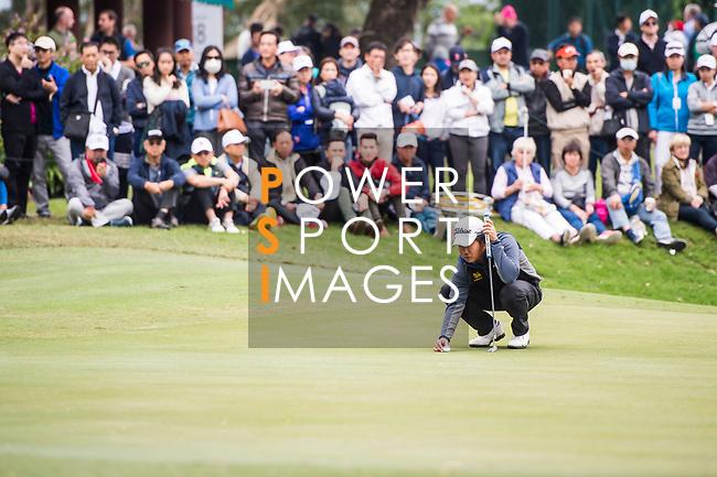 Poom Saksansin of Thailand lines up a putt during the day three of UBS Hong Kong Open 2017 at the Hong Kong Golf Club on 25 November 2017, in Hong Kong, Hong Kong. Photo by Marcio Rodrigo Machado / Power Sport Images