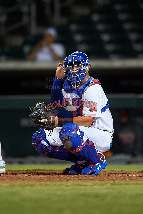 Mesa Solar Sox catcher Miguel Amaya (33), of the Chicago Cubs organization, during an Arizona Fall League game against the Scottsdale Scorpions on September 18, 2019 at Sloan Park in Mesa, Arizona. Scottsdale defeated Mesa 5-4. (Zachary Lucy/Four Seam Images)