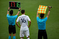 LOS ANGELES, CA - AUGUST 22: Sacha Kljestan #16 of the Los Angeles Galaxy readies himself as he enters the field of play during a game between Los Angeles Galaxy and Los Angeles FC at Banc of California Stadium on August 22, 2020 in Los Angeles, California.