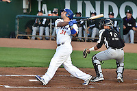 Julian Leon (34) of the Ogden Raptors at bat against the Grand Junction Rockies during Opening Night of the Pioneer League Season on June 16, 2014 at Lindquist Field in Ogden, Utah. (Stephen Smith/Four Seam Images)