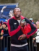 Sadio Mane of Liverpool (10) arriving beefore the Premier League match between Brighton and Hove Albion and Liverpool at the American Express Community Stadium, Brighton and Hove, England on 12 January 2019. Photo by Edward Thomas / PRiME Media Images.