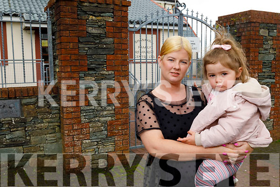 Kerry O'Connor with her daughter Eda McMahon standing outside the Shanakill family Resource Centre's Pre-school which has closed down.