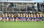 Clare players stand for the anthem before their Munster Hurling League game against Cork at Cusack Park. Photograph by John Kelly.