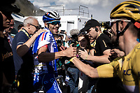 Stage winner Thibaut Pinot (FRA/Groupama FDJ) congratulated by the Yellow Jersey Julian Alaphilippe (FRA/Deceuninck Quick Step)<br /> <br /> Stage 14: Tarbes to Tourmalet (117km)<br /> 106th Tour de France 2019 (2.UWT)<br /> <br /> ©kramon