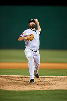 Jackson Generals relief pitcher Daniel Gibson (43) delivers a pitch during a game against the Chattanooga Lookouts on April 29, 2017 at The Ballpark at Jackson in Jackson, Tennessee.  Jackson defeated Chattanooga 7-4.  (Mike Janes/Four Seam Images)