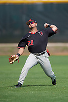 Rutgers Scarlet Knights right fielder Mike Martinez (20) during warmups before a game against the Indiana Hoosiers on February 23, 2018 at North Charlotte Regional Park in Port Charlotte, Florida.  Indiana defeated Rutgers 7-6.  (Mike Janes/Four Seam Images)