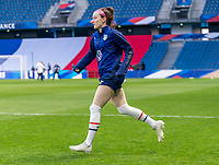 LE HAVRE, FRANCE - APRIL 13: Rose Lavelle #16 of the USWNT warm up before a game between France and USWNT at Stade Oceane on April 13, 2021 in Le Havre, France.