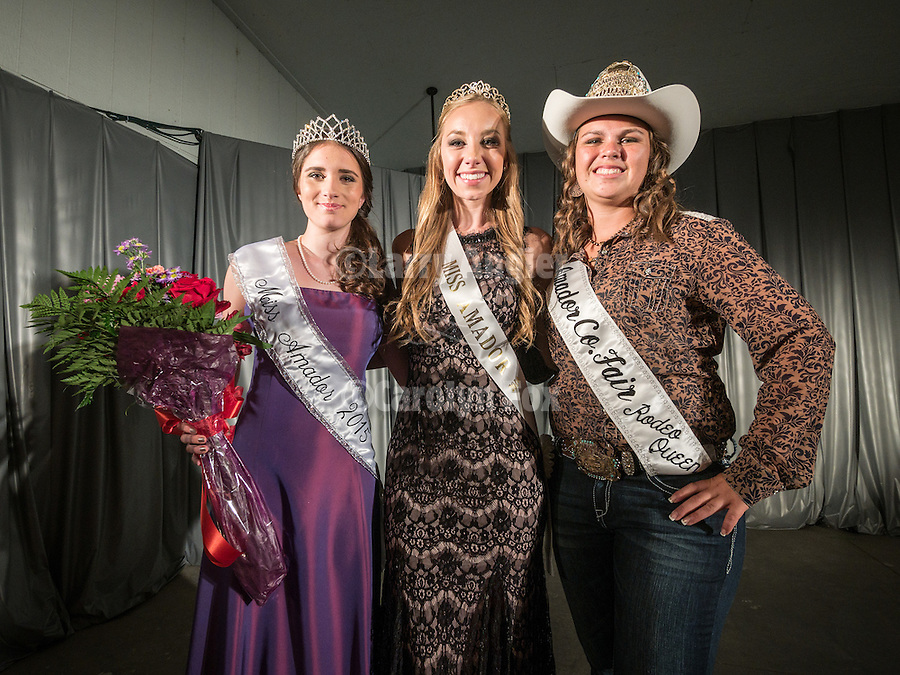 Opening of the 77th Amador County Fair, Plymouth, Calif.<br /> <br /> Three Miss Amador Queens:<br /> <br /> Mikayla Haefele, 2015 Miss Amador, Bailey Lubenko, 2014 Miss Amador, Morgan Lyman, Amador County Fair Rodeo Queen