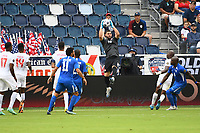 KANSASCITY, KS - JULY 11: Maxime Crepeau #16 of Canada catches the ball during a game between Canada and Martinique at Children's Mercy Park on July 11, 2021 in KansasCity, Kansas.