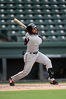 Designated hitter Alexis Torres (7) of the Delmarva Shorebirds bats in a game against the Greenville Drive on Friday, August 2, 2019, in the continuation of rain-shortened game begun August 1, at Fluor Field at the West End in Greenville, South Carolina. Delmarva won, 8-5. (Tom Priddy/Four Seam Images)