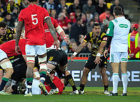 Te Toiroa Tahuriorangi protests to referee Romain Poite during the 2017 DHL Lions Series rugby match between the Hurricanes and British & Irish Lions at Westpac Stadium in Wellington, New Zealand on Tuesday, 27 June 2017. Photo: Dave Lintott / lintottphoto.co.nz