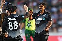 20th December 2020; Hamilton, New Zealand;  Ish Sodhi ccelebrates the wicket of Khushdil Shah, New Zealand Black Caps versus Pakistan, International Twenty20 Cricket. Seddon Park, Hamilton, New Zealand.