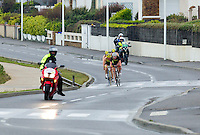 28 APR 2012 - LES SABLES D'OLONNE, FRA - Line Bork Thams  (right) leads her Noyon Puissance 3 Triathlon team mates on the bike during the women's French Grand Prix Series triathlon prologue round in Les Sables d'Olonne, France (PHOTO (C) 2012 NIGEL FARROW)