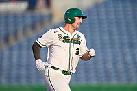 Tulane Green Wave Walker Burchfield (39) rounds the bases after hitting a home run during a game against the Houston Cougars on May 25, 2021 at BayCare Ballpark in Clearwater, Florida.  Tulane defeated Houston 4-1 in the opening game of the American Athletic Conference Tournament.  (Mike Janes/Four Seam Images)