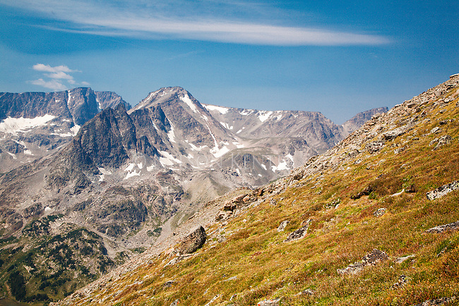 high mountain peaks west of sundance pass in the beartooth wilderness in montana