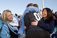 North Carolina Tar Heels goalkeeper Anna Rodenbough (00) celebrates with fans after the game. The North Carolina Tar Heels defeated the Notre Dame Fighting Irish 2-1 during the finals of the NCAA Women's College Cup at Wakemed Soccer Park in Cary, NC, on December 7, 2008. Photo by Howard C. Smith/isiphotos.com