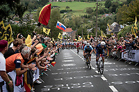 huge crowds up the Smeysberg, cheering for Remco Evenepoel (BEL/Deceuninck-Quick Step) who counters an attack by Benoît Cosnefroy (FRA/AG2R Citroën)<br /> <br /> Elite Men World Championships - Road Race<br /> from Antwerp to Leuven (268.3km)<br /> <br /> UCI Road World Championships - Flanders Belgium 2021<br /> <br /> ©kramon