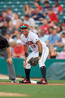 Indianapolis Indians first baseman Jose Osuna (13) during a game against the Rochester Red Wings on July 24, 2018 at Victory Field in Indianapolis, Indiana.  Rochester defeated Indianapolis 2-0.  (Mike Janes/Four Seam Images)