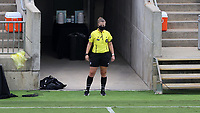 CARY, NC - AUGUST 01: Fourth official Emma Richards watches from the technical area during a game between Birmingham Legion FC and North Carolina FC at Sahlen's Stadium at WakeMed Soccer Park on August 01, 2020 in Cary, North Carolina.