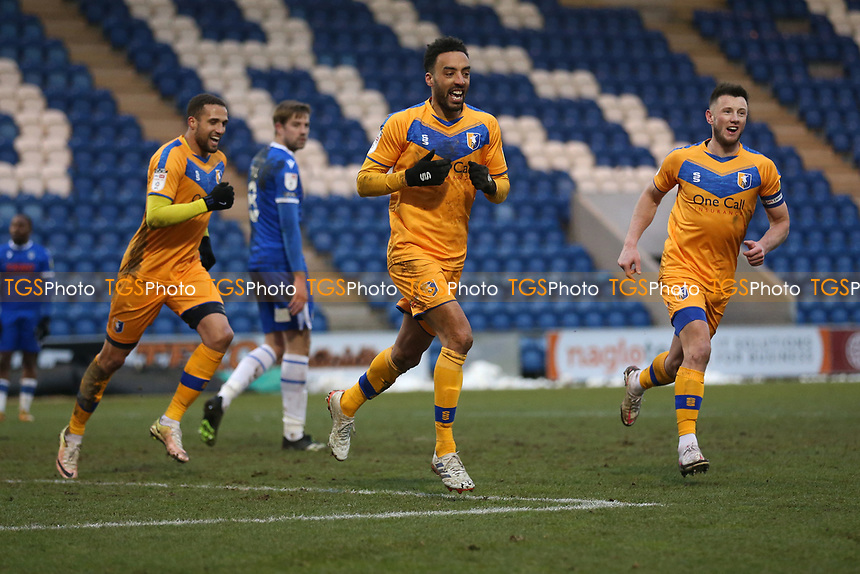 James Perch of Mansfield Town scores the second goal for his team and celebrates during Colchester United vs Mansfield Town, Sky Bet EFL League 2 Football at the JobServe Community Stadium on 14th February 2021