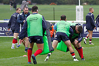 Phil Cringle of London Scottish warming up during the Greene King IPA Championship match between London Scottish Football Club and Ampthill RUFC at Richmond Athletic Ground, Richmond, United Kingdom on 26 October 2019. Photo by Carlton Myrie.