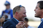September 22, 2012. My Miss Aurelia, ridden by Corey Nakatani and trained by Steve Asmussen, wins the 43rd running of the Grade 1 Cotillion Stakes at Parx Racing in Bensalem, Pennsylvania. Assistant trainer Scott Blasi celebrates after the race. (Joan Fairman Kanes/Eclipse Sportswire)
