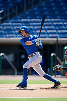 Toronto Blue Jays shortstop Kevin Vicuna (58) follows through on a swing during a Florida Instructional League game against the Philadelphia Phillies on September 24, 2018 at Spectrum Field in Clearwater, Florida.  (Mike Janes/Four Seam Images)
