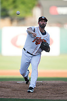 Fresno Grizzlies starting pitcher Mike Hauschild (30) delivers a pitch to the plate during a Pacific Coast League game against the Salt Lake Bees at Chukchansi Park on May 14, 2018 in Fresno, California. Fresno defeated Salt Lake 4-3. (Zachary Lucy/Four Seam Images)