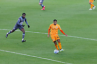 ST PAUL, MN - OCTOBER 18: Victor Cabrera #36 of Houston Dynamo pass the ball during a game between Houston Dynamo and Minnesota United FC at Allianz Field on October 18, 2020 in St Paul, Minnesota.