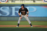 Alex Destino (23) of the Kannapolis Intimidators takes his lead off of second base against the Augusta GreenJackets at SRG Park on July 6, 2019 in North Augusta, South Carolina. The Intimidators defeated the GreenJackets 9-5. (Brian Westerholt/Four Seam Images)