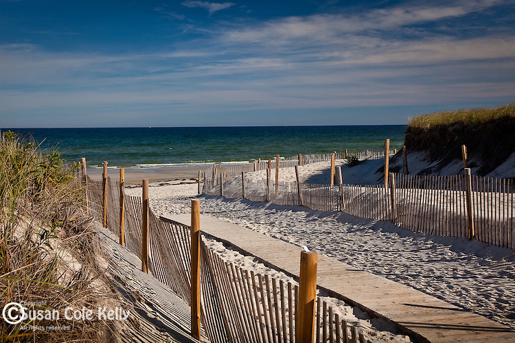 Boardwalk to Cape Cod Bay at Mayflower Beach in Dennis, Cape Cod, MA, USA
