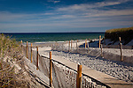 Boardwalk to Cape Cod Bay at Mayflower Beach in Dennis, Cape Cod, MA, USA