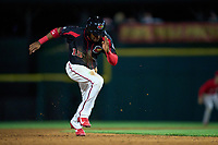 Rochester Red Wings Victor Robles (15) steals third base during a game against the Worcester Red Sox on September 4, 2021 at Frontier Field in Rochester, New York.  (Mike Janes/Four Seam Images)