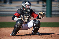 Nick Ciuffreda (14) of Lawrence High School in Lawrenceville, New Jersey during the Baseball Factory All-America Pre-Season Tournament, powered by Under Armour, on January 13, 2018 at Sloan Park Complex in Mesa, Arizona.  (Mike Janes/Four Seam Images)