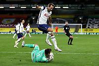 26th October 2020, Turf Moor, Burnley UK; EPL Premier League football, Burnley v Tottenham Hotspur; Burnley goalkeeper Nick Pope (1) saves at the feet of Tottenham Hotspur forward Harry Kane (10)