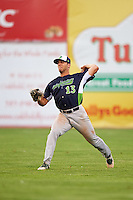 Vermont Lake Monsters outfielder Brett Siddall (13) throws the ball in during a game against the Batavia Muckdogs August 9, 2015 at Dwyer Stadium in Batavia, New York.  Vermont defeated Batavia 11-5.  (Mike Janes/Four Seam Images)
